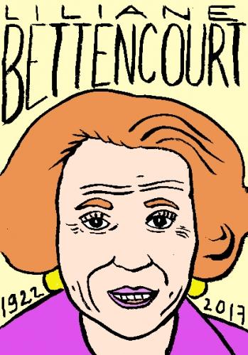 mort de Liliane Bettencourt, dessin, portrait, laurent jacquy,répertoire des macchabées célèbres,mort d'homme,