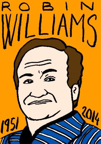 mort de robin williams,dessin,portrait,laurent jacquy,répertoire des macchabées célèbres