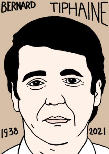mort de Bernard Tiphainedessin,portrait,laurent Jacquy