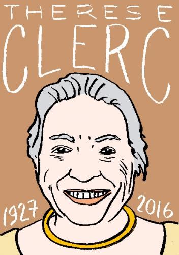 mort de thérèse clerc, dessin, portrait, laurent jacquy,répertoire des macchabées célèbres,mort d'homme,