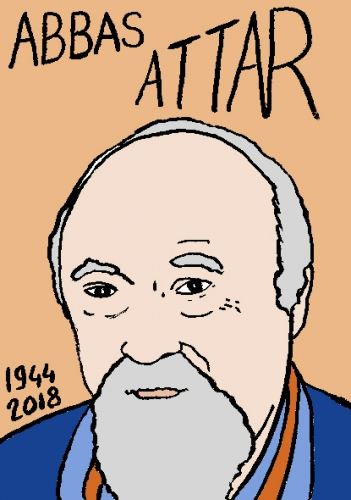 mort d'Abbas Attar, dessin, portrait, laurent jacquy,répertoire des macchabées célèbres,mort d'homme,