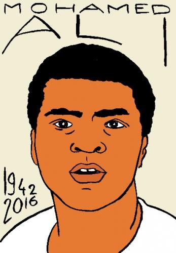 mort de mohamed ali, dessin, portrait, laurent jacquy,répertoire des macchabées célèbres,mort d'homme,
