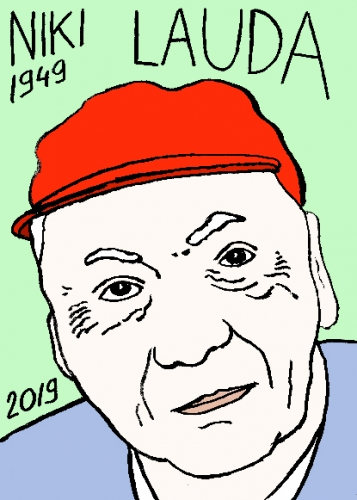 mort de Niki Lauda, dessin, portrait, laurent jacquy,répertoire des macchabées célèbres,mort d'homme,
