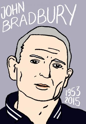 mort de john bradbury, dessin, portrait, laurent jacquy,répertoire des macchabées célèbres,mort d'homme,