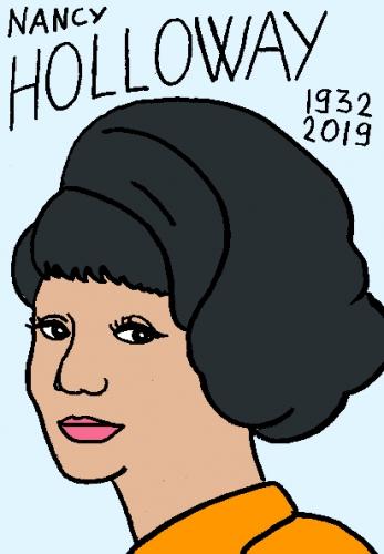 mort de Nancy Holloway, dessin, portrait, laurent jacquy,répertoire des macchabées célèbres,mort d'homme,