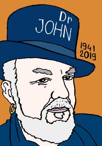mort de Dr John, dessin, portrait, laurent jacquy,répertoire des macchabées célèbres,mort d'homme,