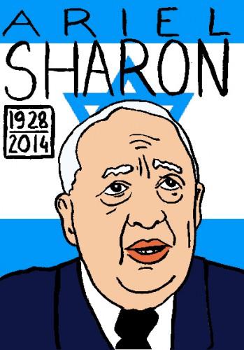Mort d'ariel sharon,dessin,portrait,laurent jacquy,mort d'homme,répertoire des macchabées célèbres,art modeste,les beaux dimanches
