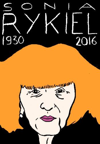 mort de sonia rykiel dessin, portrait, laurent jacquy,répertoire des macchabées célèbres,mort d'homme,