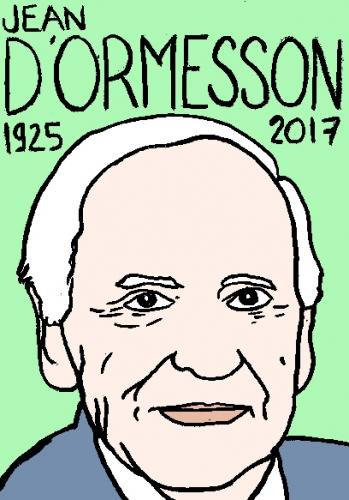 mort de jean d'ormesson, dessin, portrait, laurent jacquy,répertoire des macchabées célèbres,mort d'homme,