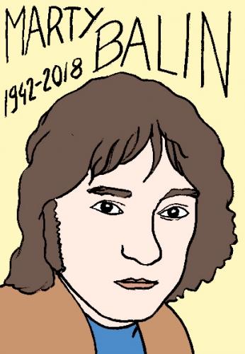 mort de marty balin, dessin, portrait, laurent jacquy,répertoire des macchabées célèbres,mort d'homme,