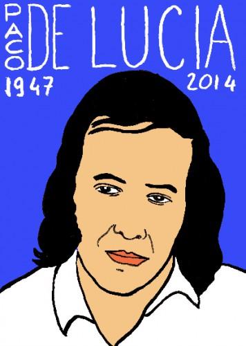 mort de paco de lucia,dessin,portrait,laurent jacquy,répertoire des macchabées célèbres,art modeste,musique