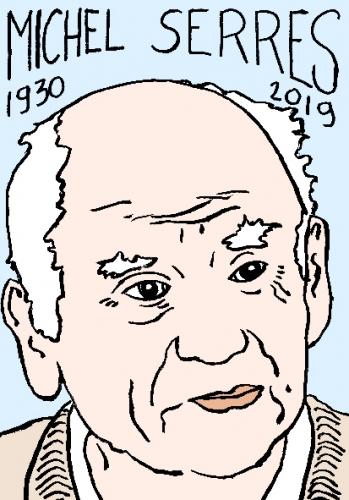 mort de michel Serres, dessin, portrait, laurent jacquy,répertoire des macchabées célèbres,mort d'homme,