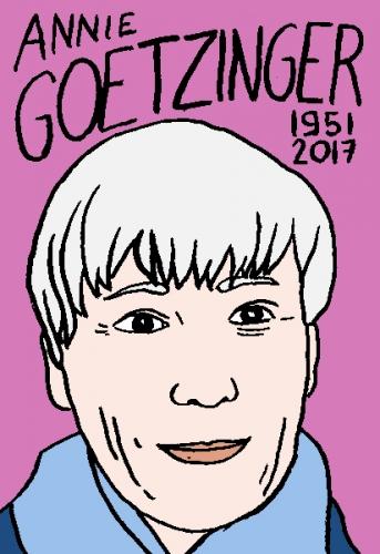 mort d'annie Goetzinger, dessin, portrait, laurent jacquy,répertoire des macchabées célèbres,mort d'homme,