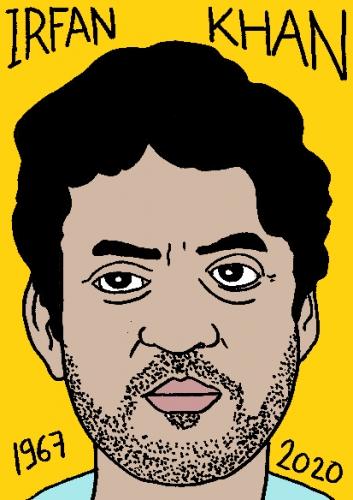 mort d'Irfan Khan, dessin, portrait, laurent jacquy,répertoire des macchabées célèbres,mort d'homme,