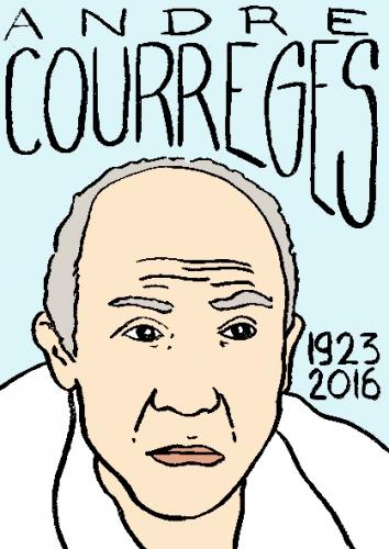 mort de andré courrèges, dessin, portrait, laurent jacquy,répertoire des macchabées célèbres,mort d'homme,