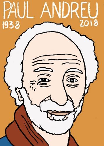 mort de Paul Andreu dessin, portrait, laurent jacquy,répertoire des macchabées célèbres,mort d'homme,architecture
