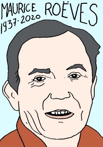 mort de Maurice Roëves, dessin, portrait, laurent jacquy,répertoire des macchabées célèbres,mort d'homme,