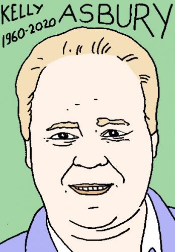 mort de Kelly Asbury, dessin, portrait, laurent jacquy,répertoire des macchabées célèbres,mort d'homme,