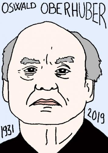 mort d'Oswald Oberhuber, dessin, portrait, laurent jacquy,répertoire des macchabées célèbres,mort d'homme,
