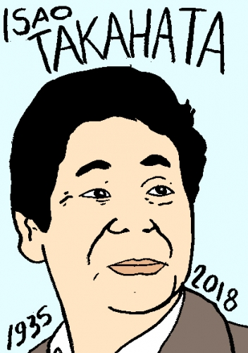 mort de isao takahat, dessin, portrait, laurent jacquy,répertoire des macchabées célèbres,mort d'homme,