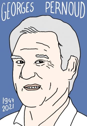 mort de georges pernoud,dessin,portrait,laurent Jacquy