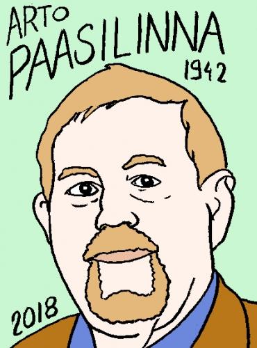 mort d'arto paasilinna, dessin, portrait, laurent jacquy,répertoire des macchabées célèbres,mort d'homme,