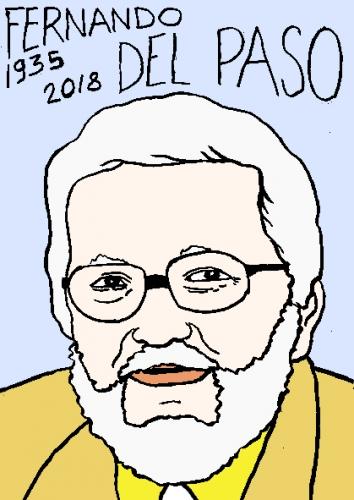 mort de fernando del paso, dessin, portrait, laurent jacquy,répertoire des macchabées célèbres,mort d'homme,