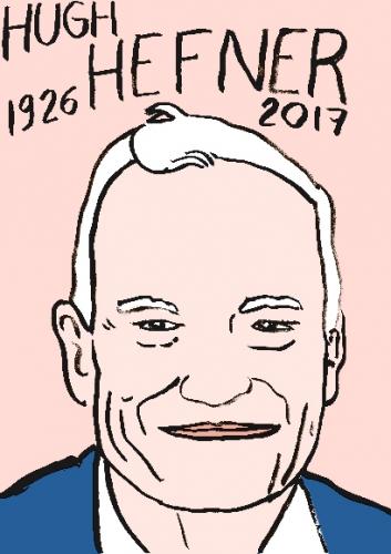 mort de Hugh Hefner, dessin, portrait, laurent jacquy,répertoire des macchabées célèbres,mort d'homme,