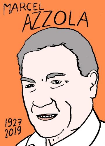 mort de Marcel Azzola, dessin, portrait, laurent jacquy,répertoire des macchabées célèbres,mort d'homme,