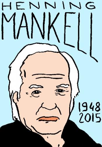 mort d'henning Mankell, dessin, portrait, laurent jacquy,répertoire des macchabées célèbres,mort d'homme,
