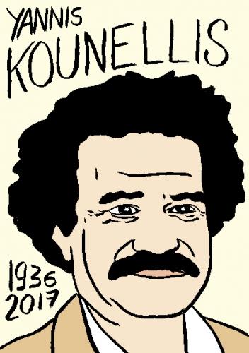 mort de yannis Kounellis, dessin, portrait, laurent jacquy,répertoire des macchabées célèbres,mort d'homme,