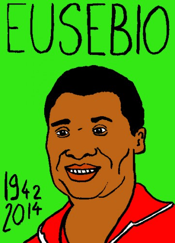 mort du footballeur Eusebio, dessin,portrait,laurent jacquy,mort d'homme,répertoire des macchabées célèbres