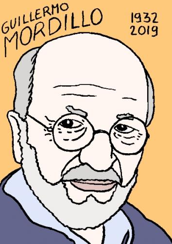 mort de Guillermo Mordillo, dessin, portrait, laurent jacquy,répertoire des macchabées célèbres,mort d'homme,