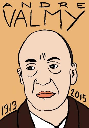 mort d'andré valmy, dessin, portrait, laurent jacquy,répertoire des macchabées célèbres,mort d'homme,