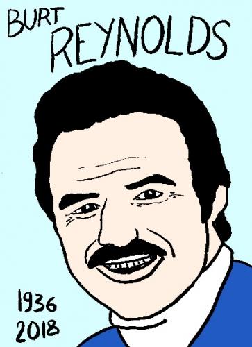 mort de Burt Reynolds dessin, portrait, laurent jacquy,répertoire des macchabées célèbres,mort d'homme,