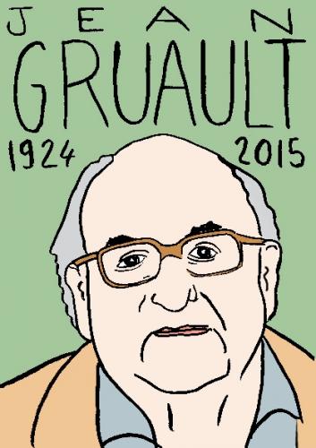 mort de jean Gruault, dessin, portrait, laurent jacquy,répertoire des macchabbées célèbres, visage,mort d'homme