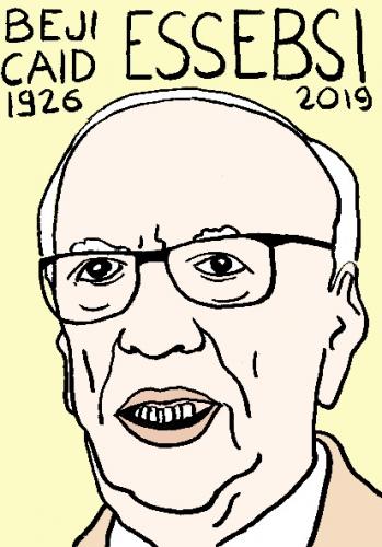 mort de Beji Caïd Essebsi, dessin, portrait, laurent jacquy,répertoire des macchabées célèbres,mort d'homme,