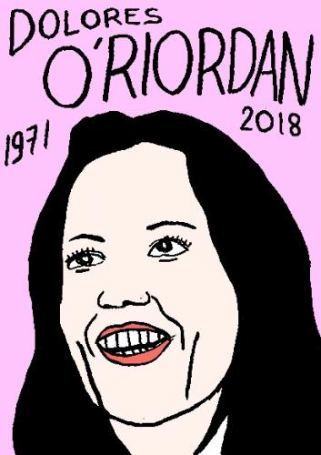 mort de Dolorès O'Riordan, dessin, portrait, laurent jacquy,répertoire des macchabées célèbres,mort d'homme,