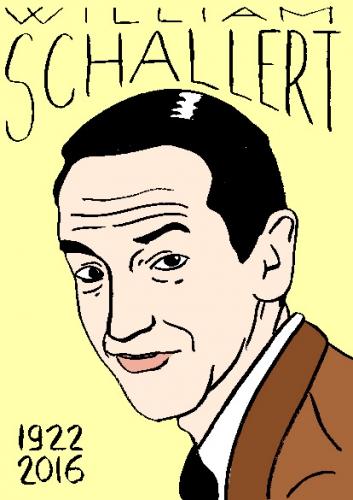 mort de william schallert, dessin, portrait, laurent jacquy,répertoire des macchabées célèbres,mort d'homme,