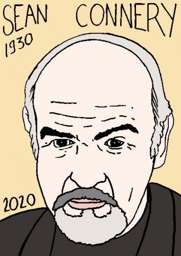 mort de Sean Connery, dessin, portrait, laurent jacquy,répertoire des macchabées célèbres,mort d'homme,