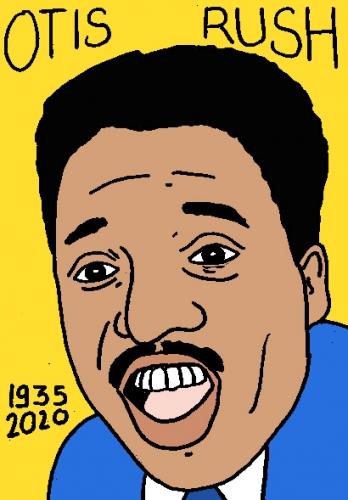 mort d'Otis Rush, dessin, portrait, laurent jacquy,répertoire des macchabées célèbres,mort d'homme,
