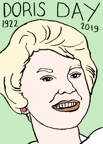 mort de Doris Day, dessin, portrait, laurent jacquy,répertoire des macchabées célèbres,mort d'homme,