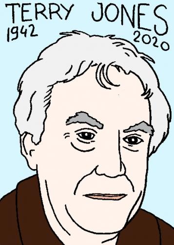 mort de terry Jones, dessin, portrait, laurent jacquy,répertoire des macchabées célèbres,mort d'homme,