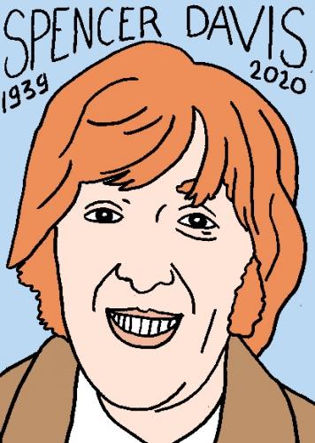 mort de Spencer Davis, dessin, portrait, laurent jacquy,répertoire des macchabées célèbres,mort d'homme,