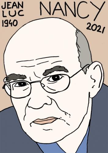 mort de Jean-Luc Nancy,dessin,portrait,laurent Jacquy