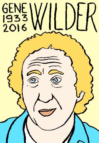 mort de gene wilder, dessin, portrait, laurent jacquy,répertoire des macchabées célèbres,mort d'homme,