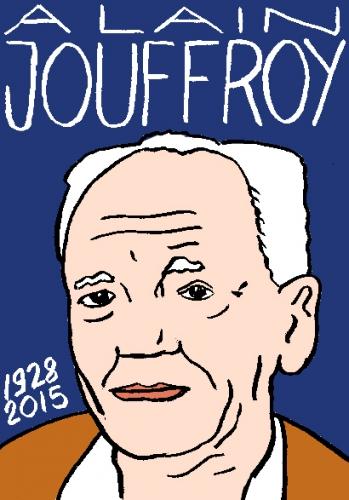 mort d'alain Jouffroy, dessin, portrait, laurent jacquy,répertoire des macchabées célèbres,mort d'homme,