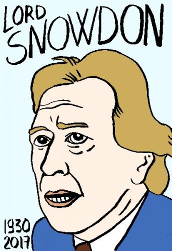mort de lor snowdon, dessin, portrait, laurent jacquy,répertoire des macchabées célèbres,mort d'homme,