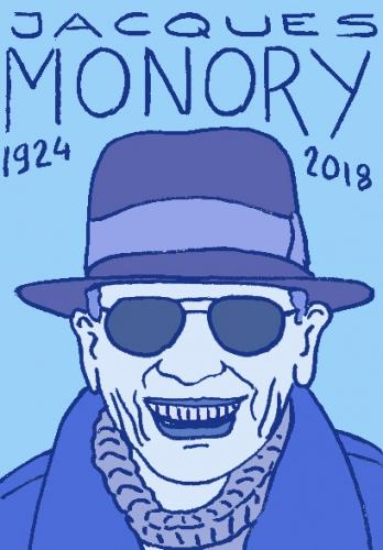 mort de jacques monory, dessin, portrait, laurent jacquy,répertoire des macchabées célèbres,mort d'homme,