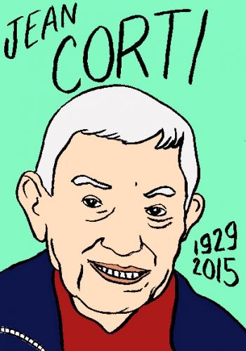 mort de jean corti, dessin, portrait, laurent jacquy,répertoire des macchabées célèbres,mort d'homme,